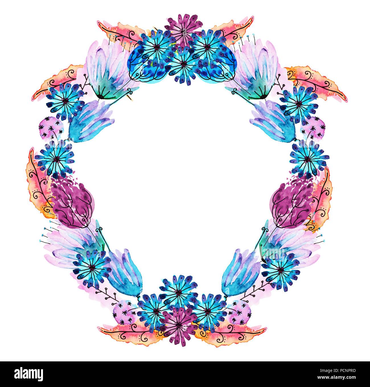 Watercolor and ink illustration of wreath multicolor flower garland watercolor and ink illustration of wreath multicolor flower garland in blue green pink red orange shades wedding crown boho romantic rainbow izmirmasajfo