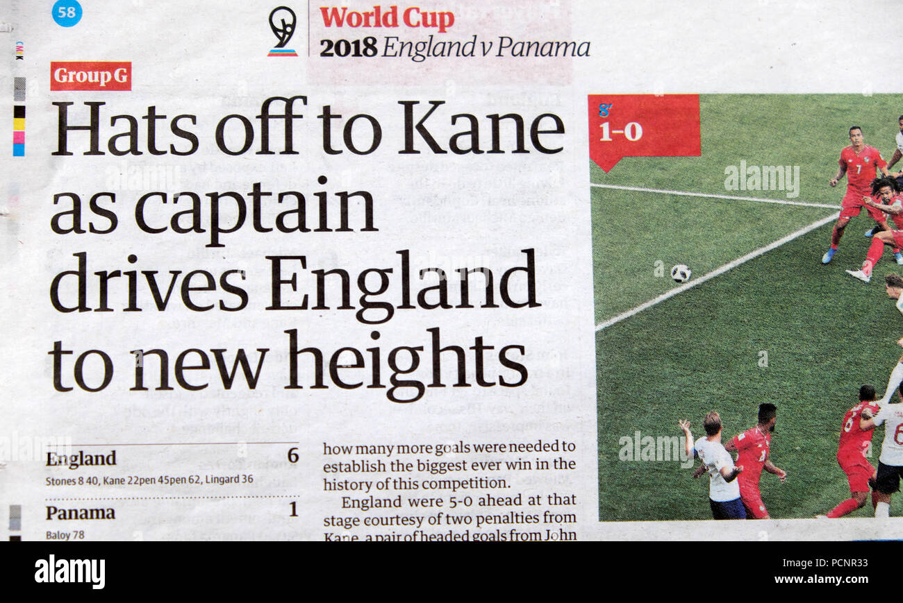 Wordl Cup 2018 Guardian newspaper article 'Hats off to Kane as captain drives England to new heights'  England v Panama in Russia - Stock Image