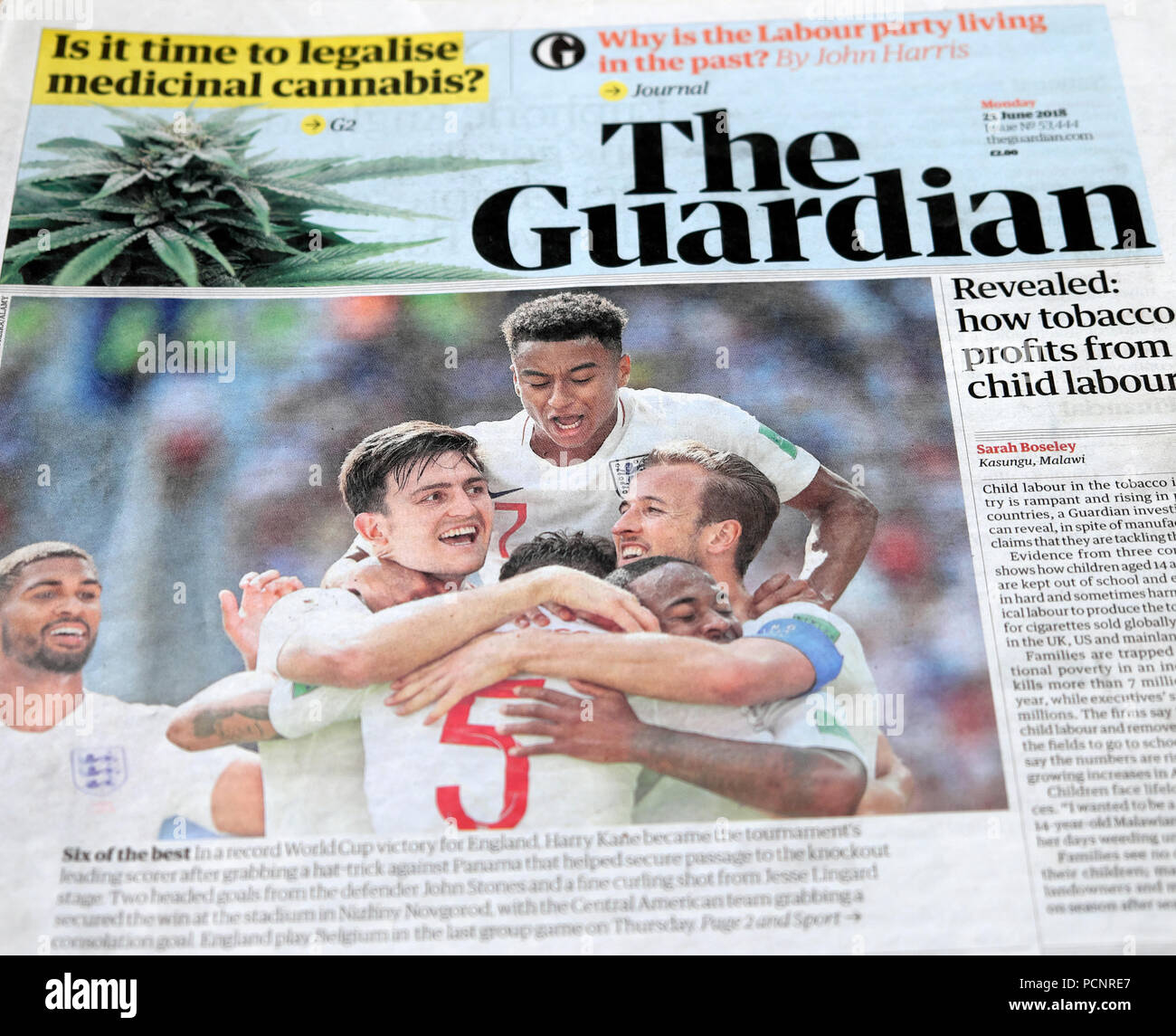 England World Cup national team celebrate win over Panama game on front page of Guardian newspaper 2018 - Stock Image