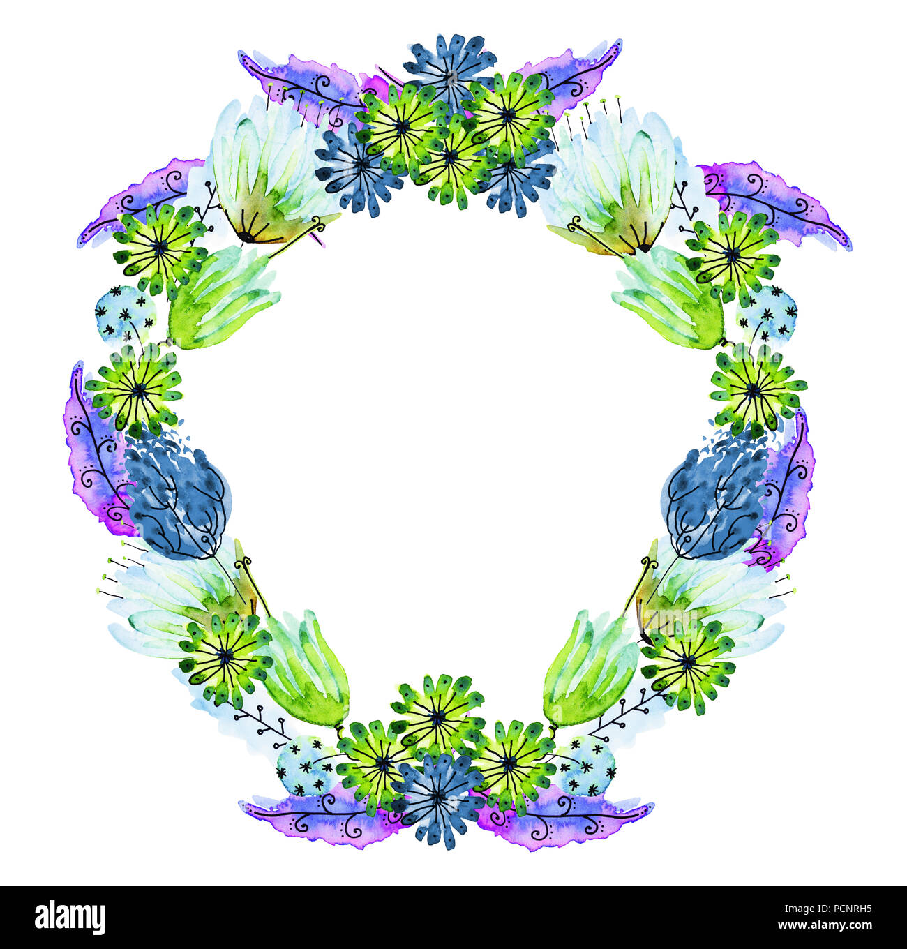 Watercolor And Ink Illustration Of Wreath Multicolor Flower Garland