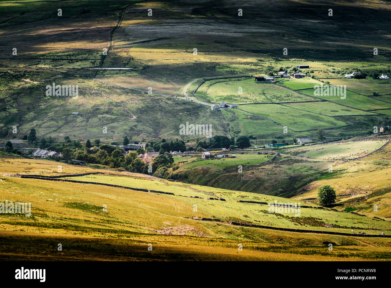 View from Bolt's Law of Rookhope a remote village in the County Durham section of the North Pennines - Stock Image