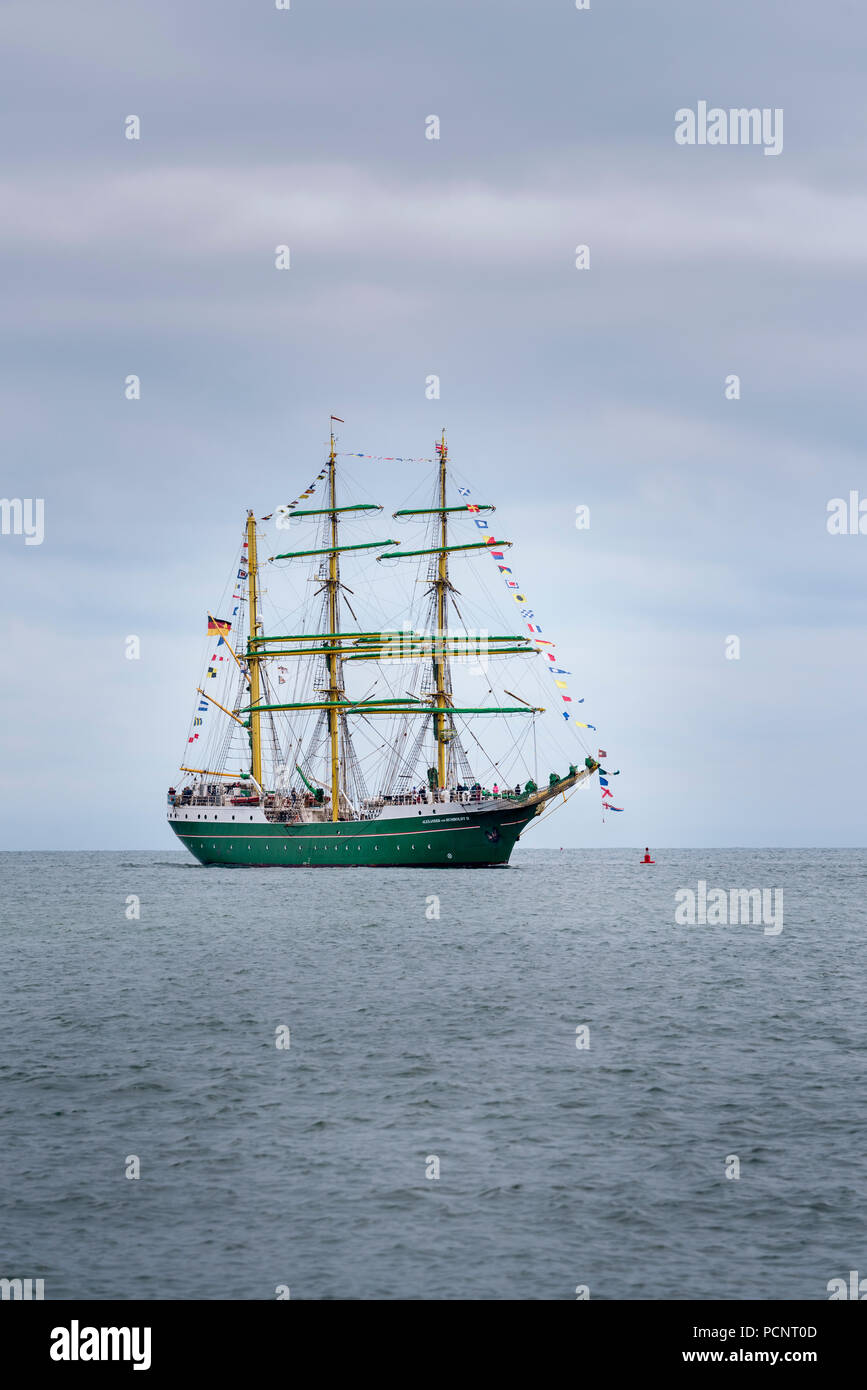 Sailing Ship Alexander von Humboldt II a three-masted steel barque used for sail training - Stock Image