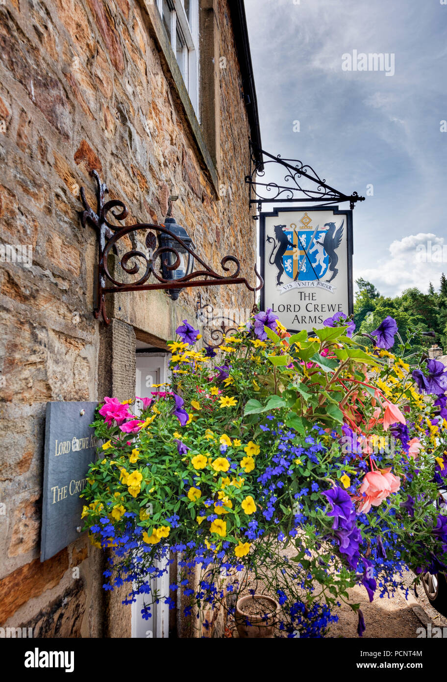 Lord Crewe Arms pub and hotel in Blanchland a picturesque and historic village in Northumberland in North East England - Stock Image