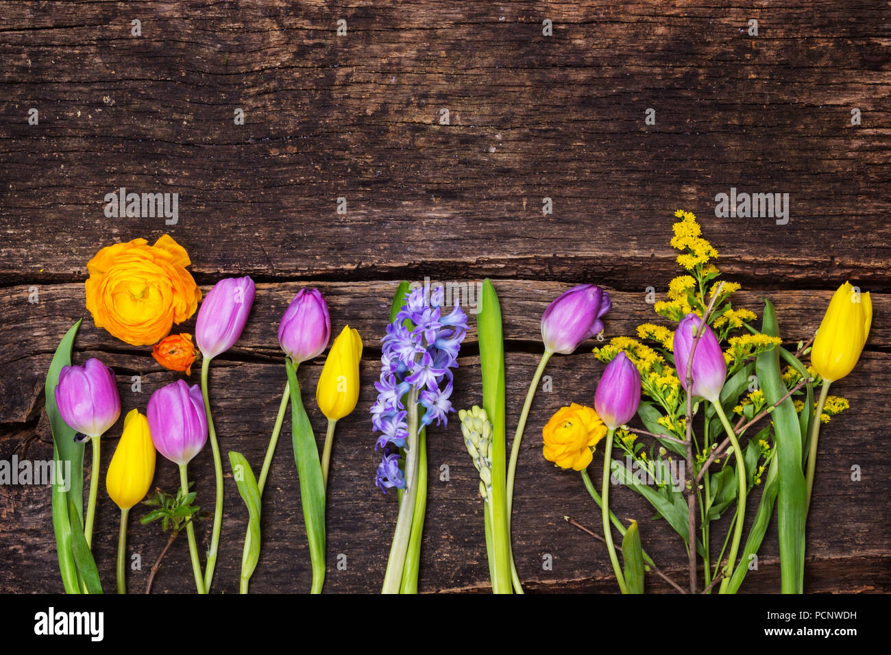 Colorful Spring Flowers On Wood Stock Photo 214381261 Alamy