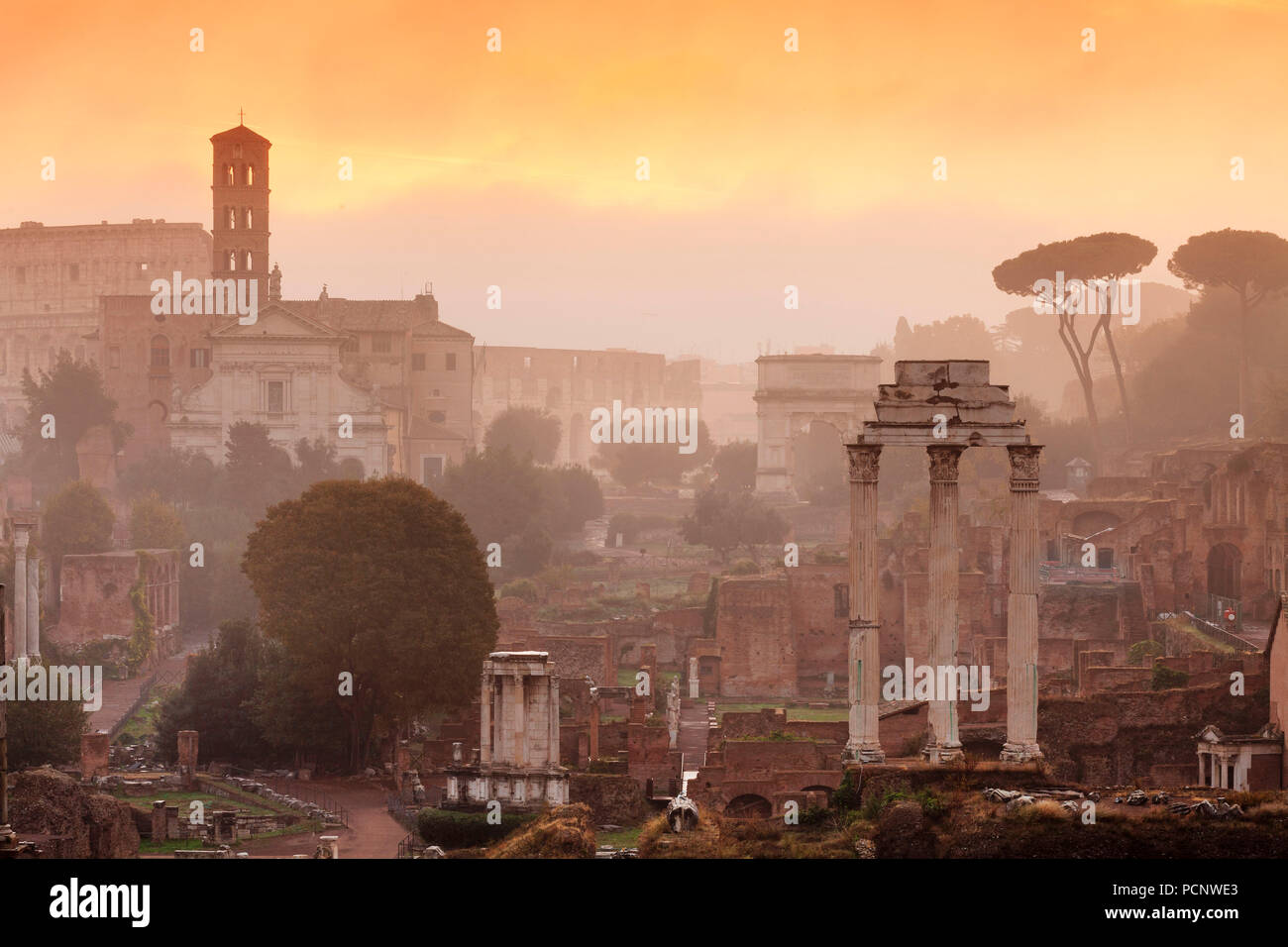 Roman Forum at sunrise,Foro Romano,Rome,Lazio,Italy - Stock Image