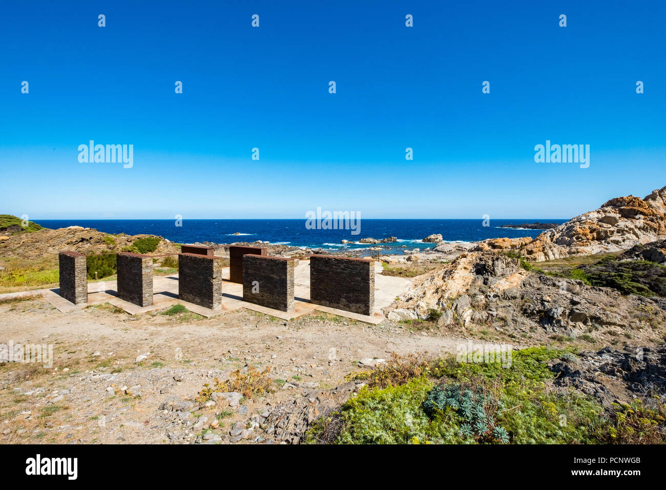 In Cap de Creus a Club Med was deconstructed with the idea of recovering the landscape of this part of the Costa Brava. In its place small interventions of landscape architecture were made. Catalonia,Spain - Stock Image