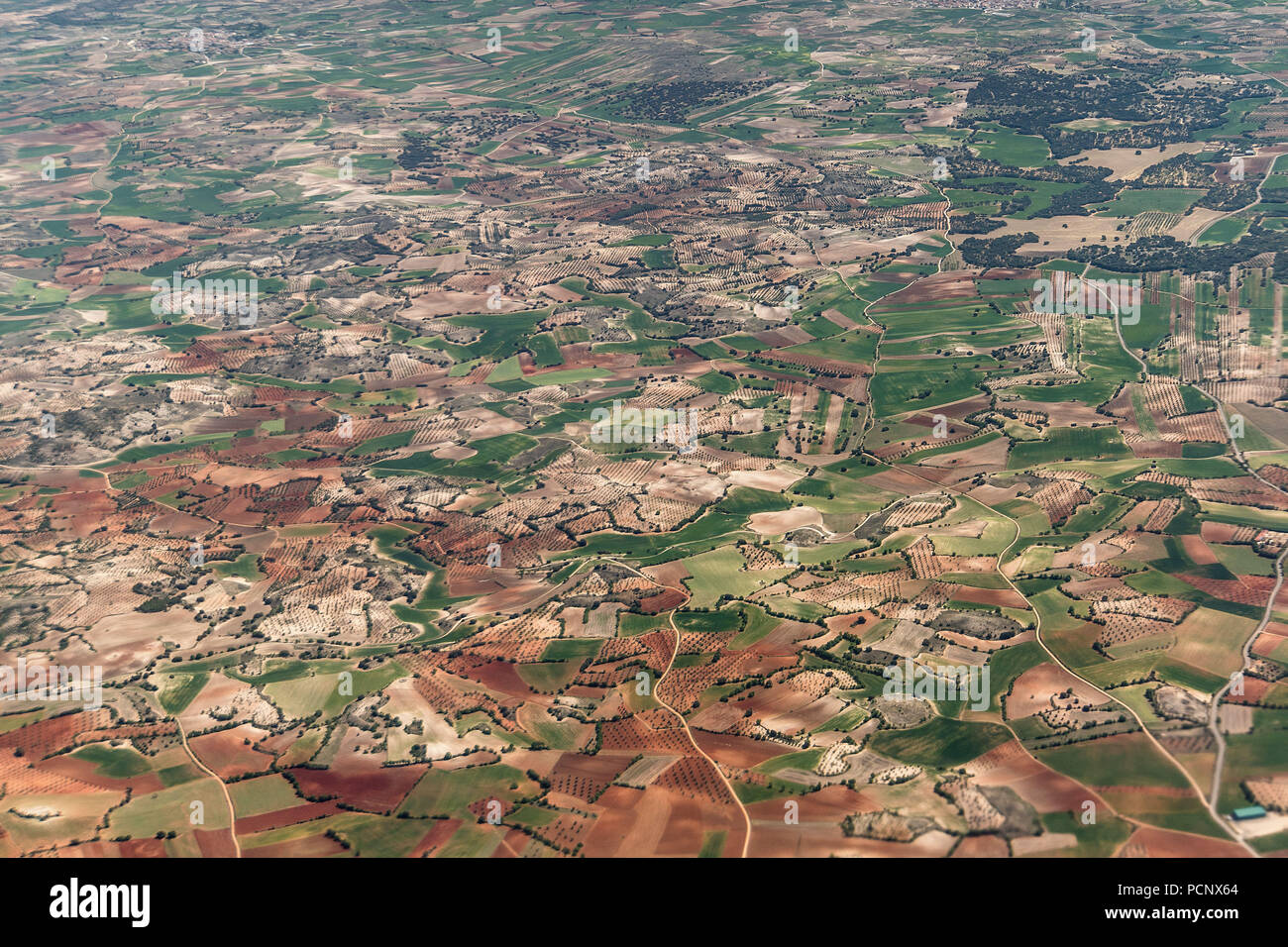 Aerial view, Iberian Peninsula, Spain, karstic plateau with fields - Stock Image