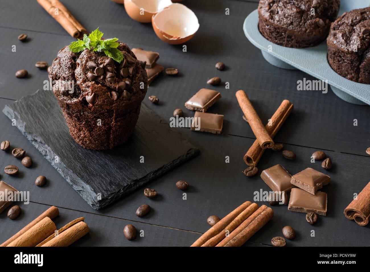 homemade chocolate muffin - Stock Image