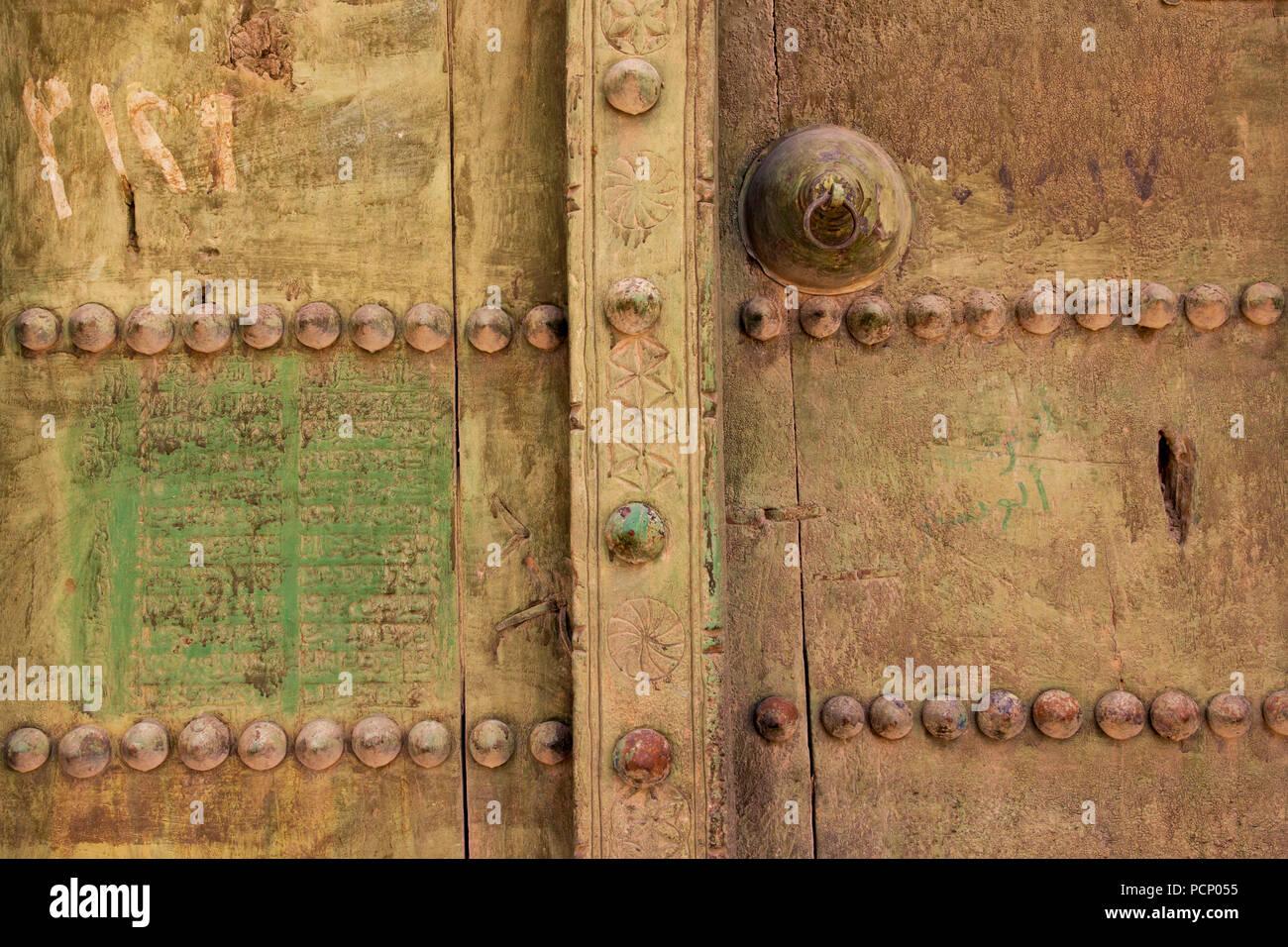 Oman, Al Hamra, door, detail - Stock Image