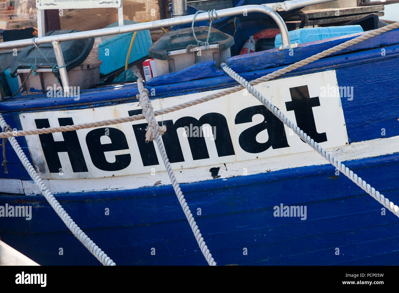 Germany, Baltic Sea, Island of Rügen, Sassnitz, boat with 'Heimat' written on its side - Stock Image