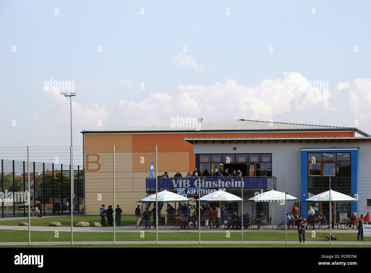 The building of the football club VFB Ginsheim at the youth and sports park in Ginsheim. - Stock Image