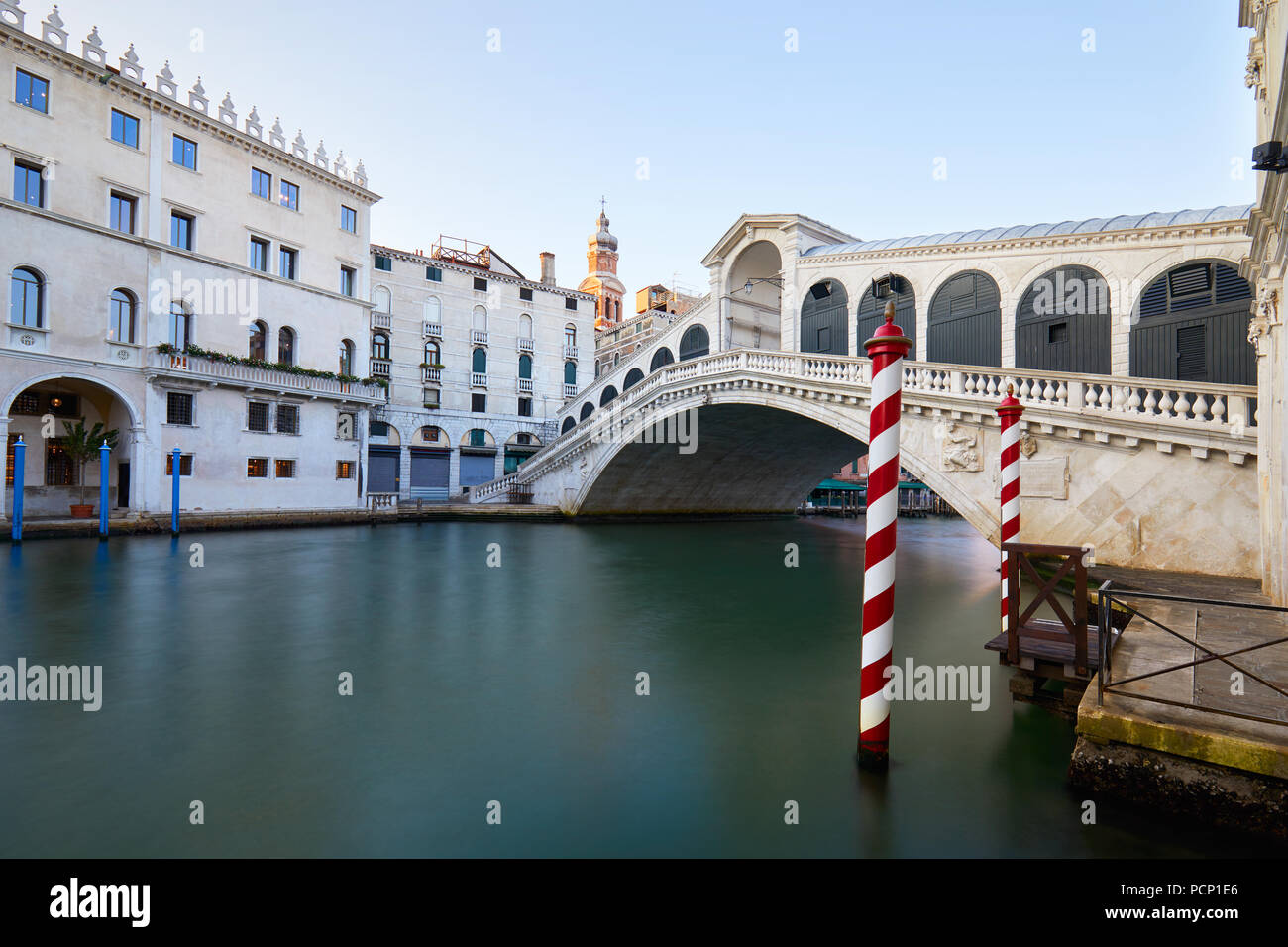 Rialto bridge and The Grand Canal in Venice, nobody in the morning, Italy - Stock Image