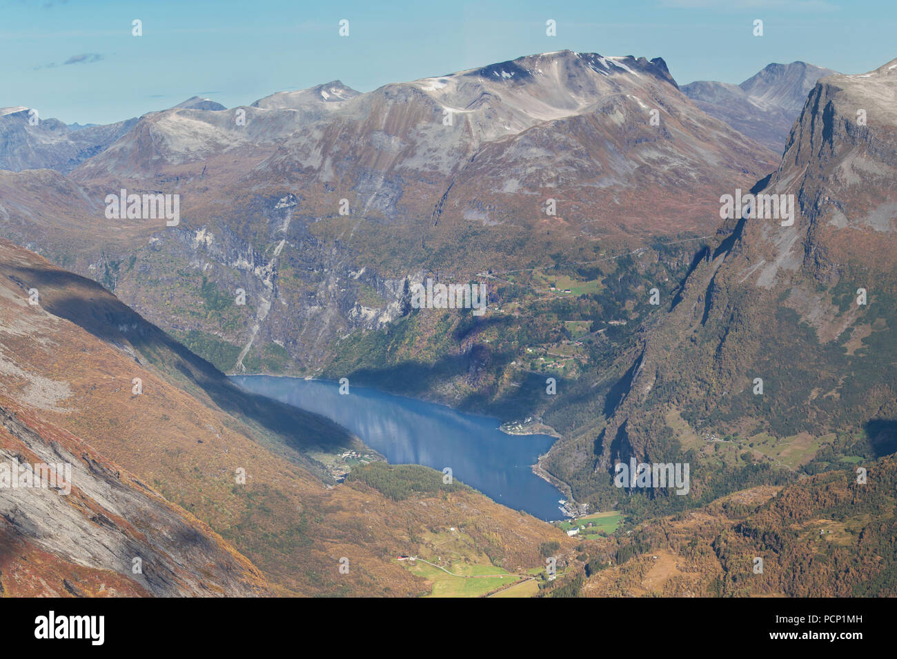 The Geiragerfjord from the Dalsnibba Mountain Plateau, Geiranger, Norway. - Stock Image