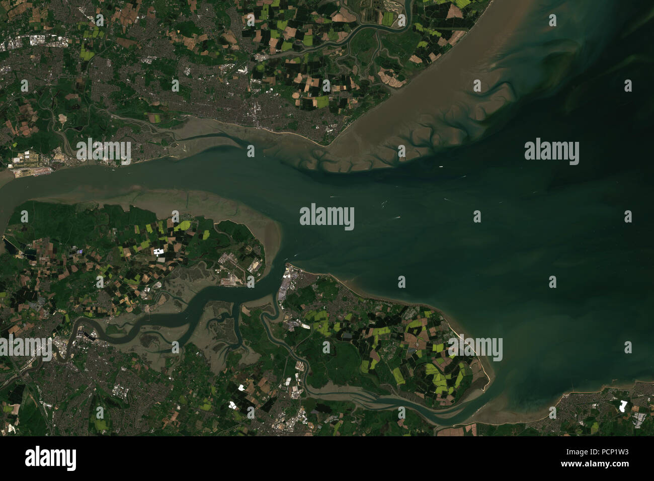 River thames estuary in Great Britain seen from space - contains modified Copernicus Sentinel data Stock Photo