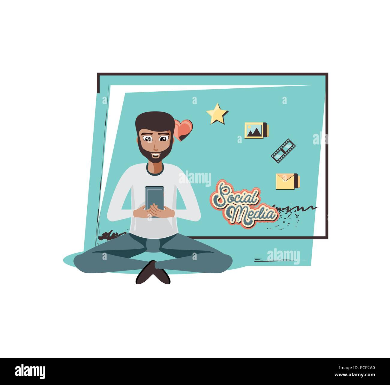 man with smartphone social media icons vector illustration design - Stock Image