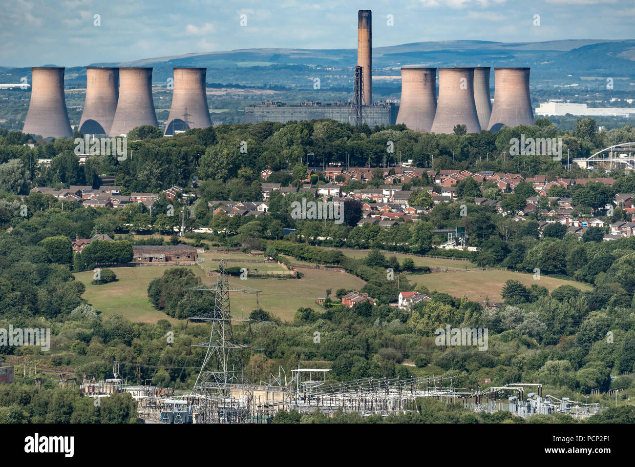 Fiddlers Ferry power station seen from Overton Hill Frodsham. Cheshire North West England. Stock Photo