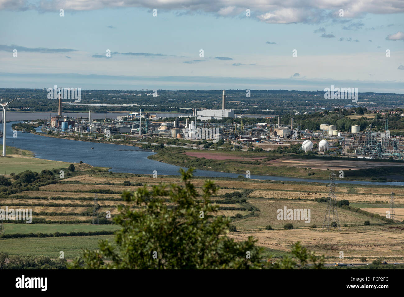 Castner Kellner chemical plant Weston Point Runcorn seen from Overton Hill Frodsham. North West England. - Stock Image