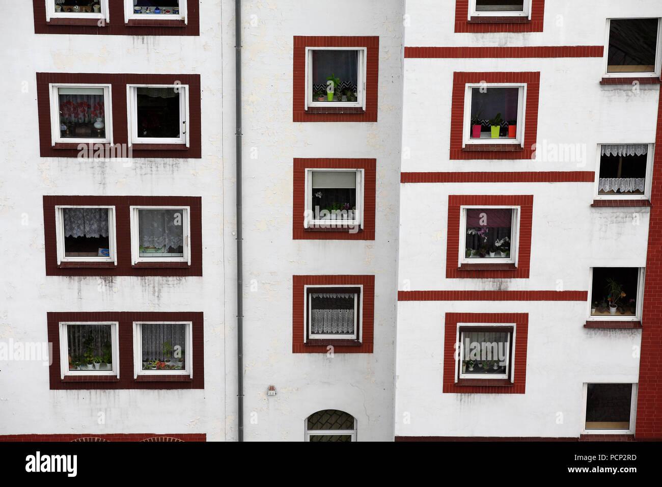 windows at house front in city of Klodzko (former glatz), lower silesia, poland, europe Stock Photo