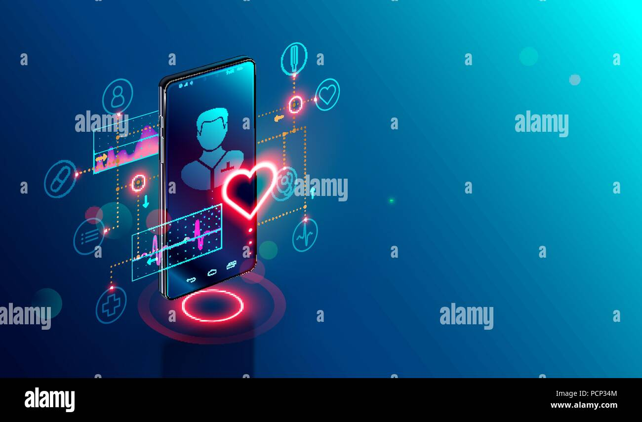 Online tele medicine isometric concept. Medical consultation and treatment via application of smartphone connected internet clinic. - Stock Image