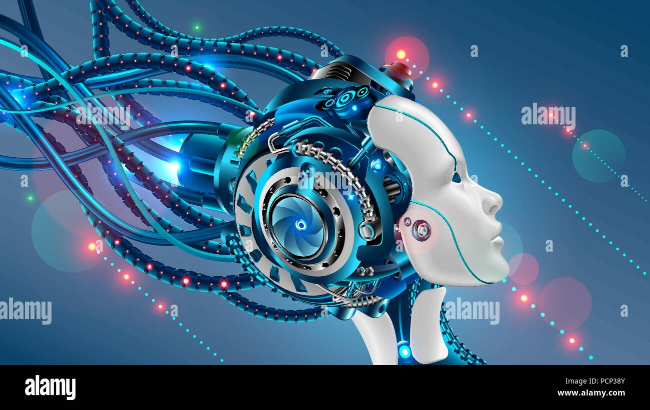 Cybernetic Head Of Robot Woman Close Up With Artificial Intelligence
