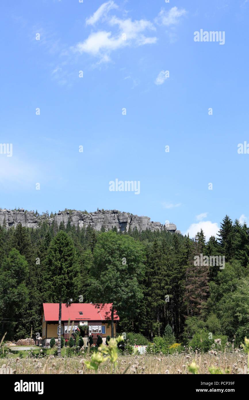 Table Mountains or Stołowe Mountains (former Heuscheuergebirge) mountain range in Stołowe Mountains National Park, karlow (former karlsberg), poland Stock Photo