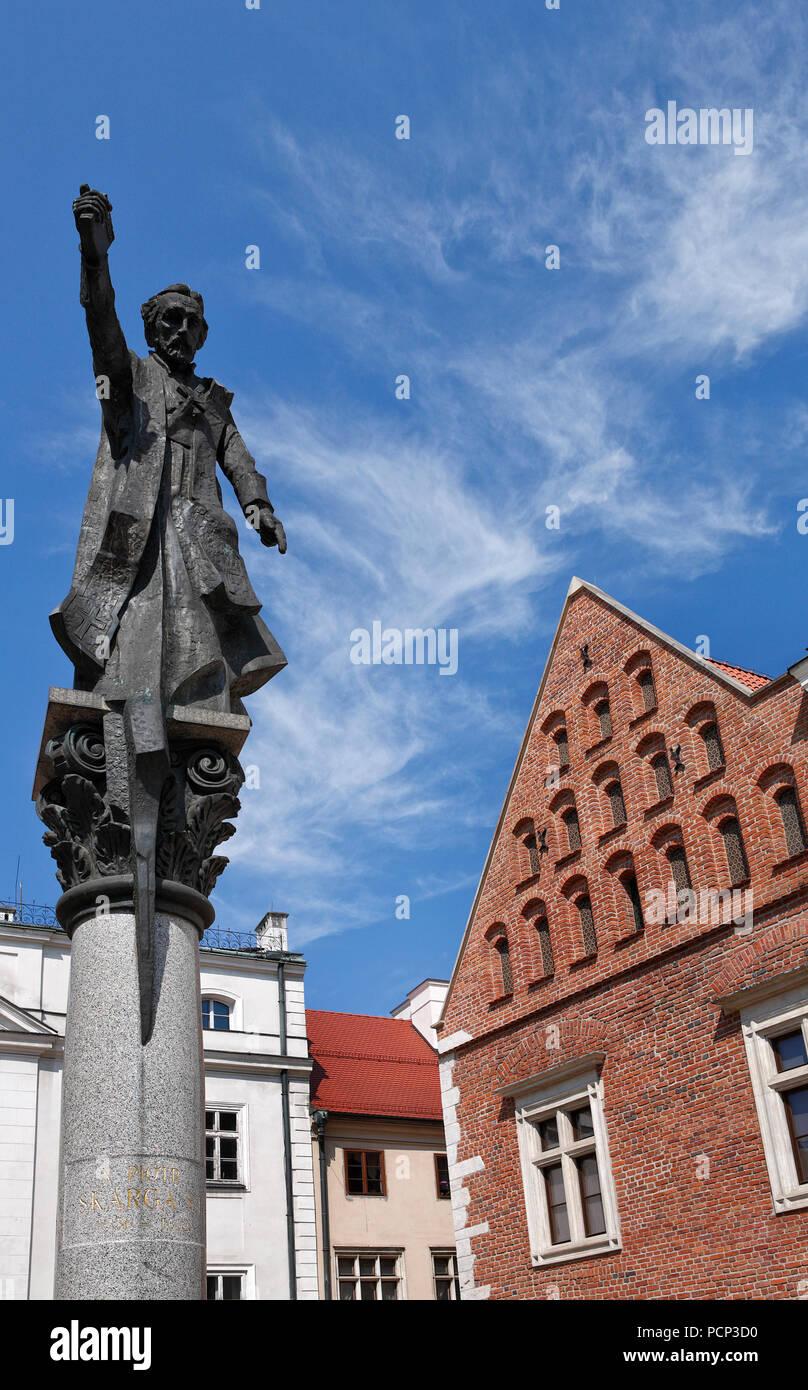monument Piotr Skarga in old town krakow, lesser poland, poland, europe Stock Photo