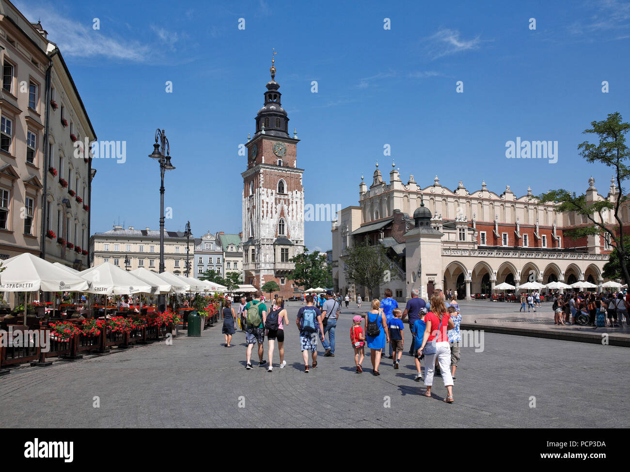 people infront of Cloth Hall. old town krakow, lesser poland, poland, europe - Stock Image