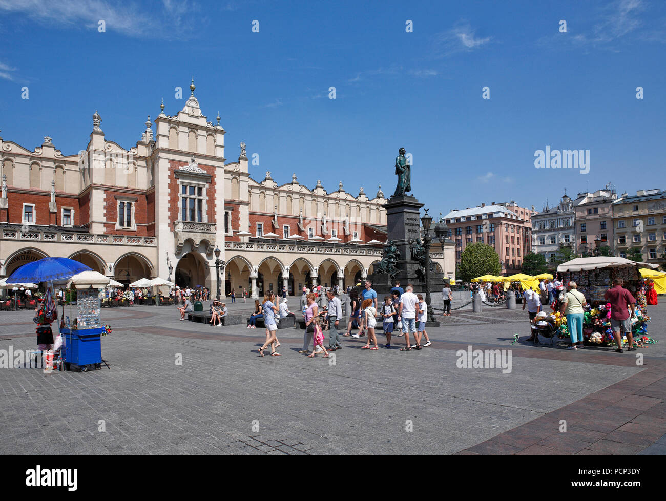 people infront of Cloth Hall. old town krakow, lesser poland, poland, europe Stock Photo