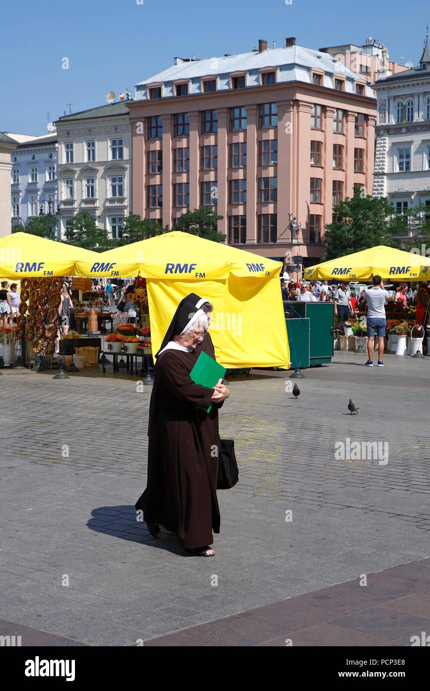 two nuns in old town krakow, lesser poland, poland, europe Stock Photo
