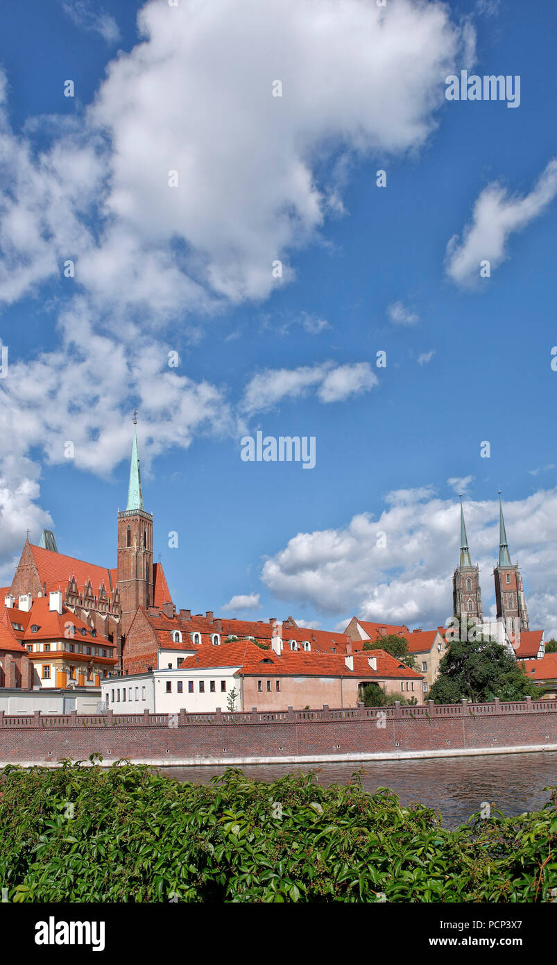cathedral island, dominsel, Ostrow Tumski oldest part of the city of Wroclaw, nearby oder river. wroclaw, breslau, lower silesia, poland, europe Stock Photo