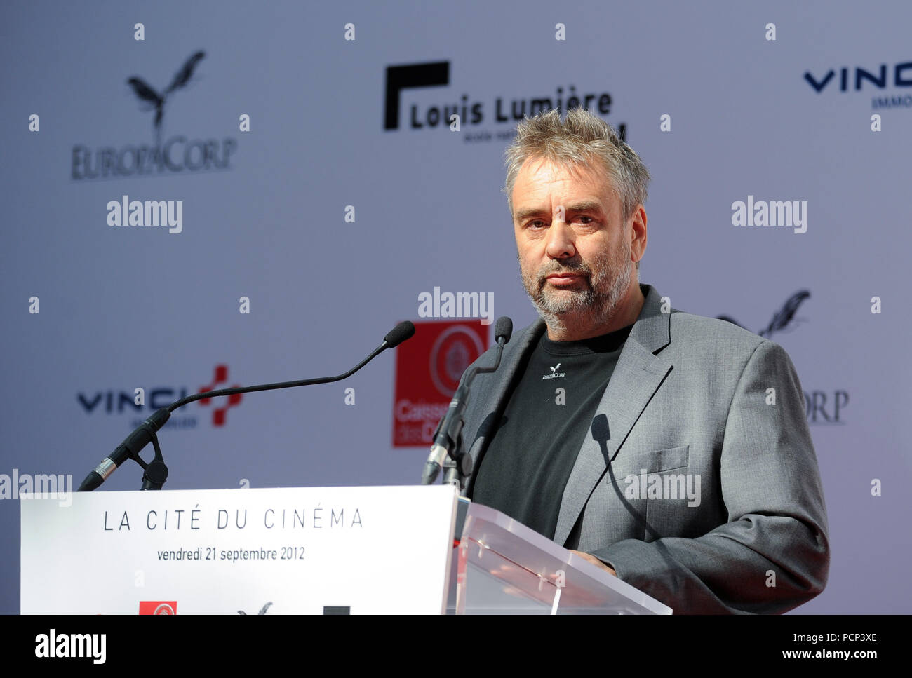 September 21, 2012 - Saint-Denis, France: French filmmaker Luc Besson unveils his 'cinema city' (Cite du Cinema) on the edge of Paris. The 170-million-euros project is the largest film studio facility ever built in France, which earned it the nickname 'Hollywood on Seine'. The former art deco power station compound houses nine state-of-the-art film sets, 20,000sq metres of office, and several carpentry, model-making, and costume workshops. Le producteur Luc Besson inaugure la Cite du Cinema à Saint-Denis. *** FRANCE OUT / NO SALES TO FRENCH MEDIA *** - Stock Image