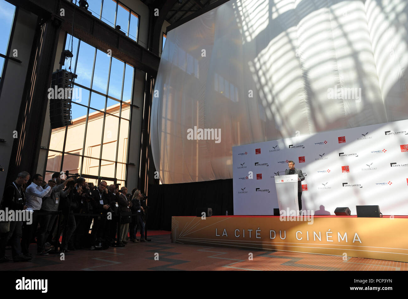 September 21, 2012 - Saint-Denis, France: French filmmaker Luc Besson unveils his 'cinema city' (Cite du Cinema) on the edge of Paris. The 170-million-euros project is the largest film studio facility ever built in France, which earned it the nickname 'Hollywood on Seine'. The former art deco power station compound houses nine state-of-the-art film sets, 20,000sq metres of office, and several carpentry, model-making, and costume workshops. FRANCE OUT - Stock Image