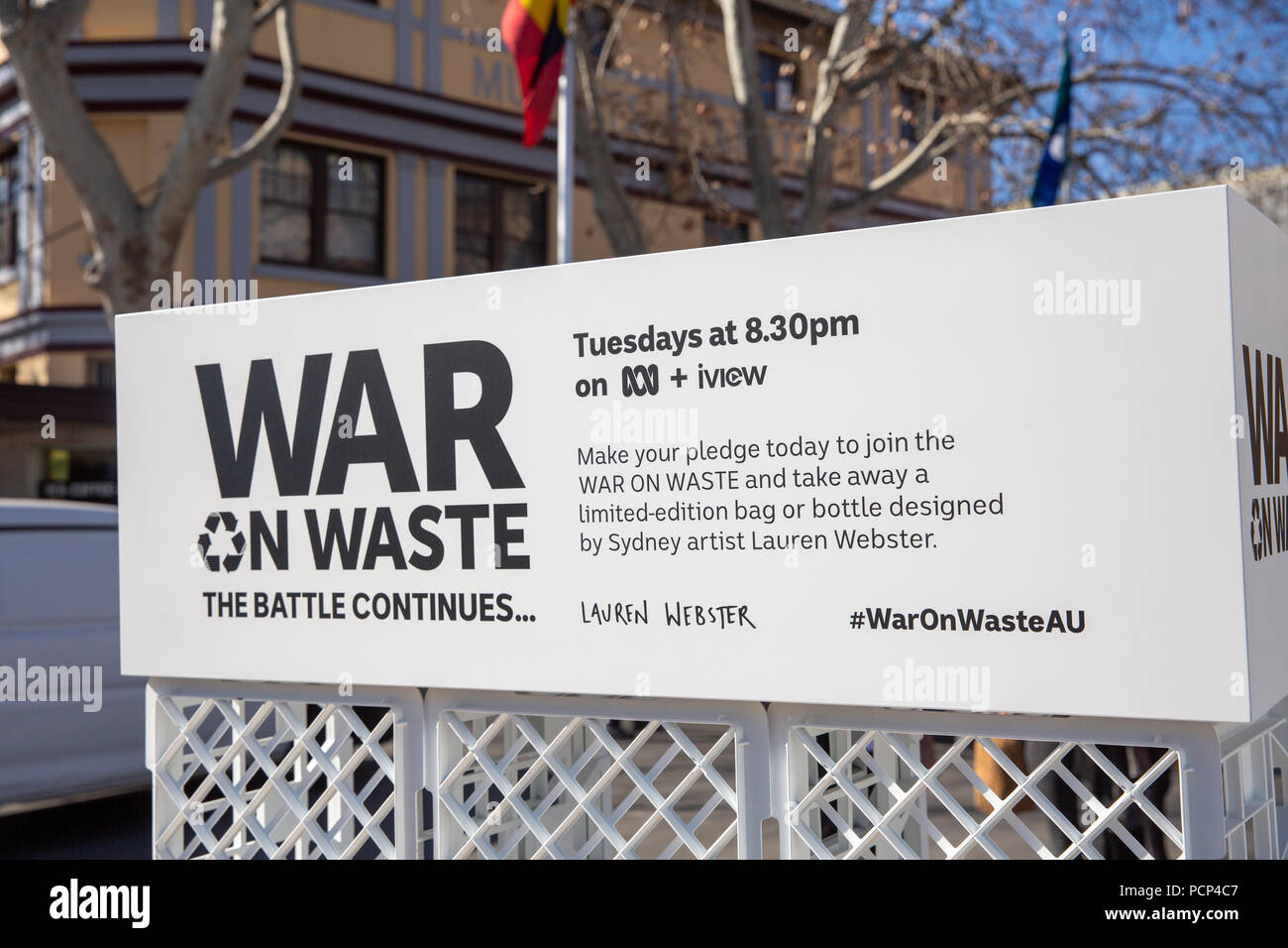 War on Waste an australian television program visits Parramatta to promote the recycling message and help people to reduce waste,Sydney,Australia - Stock Image