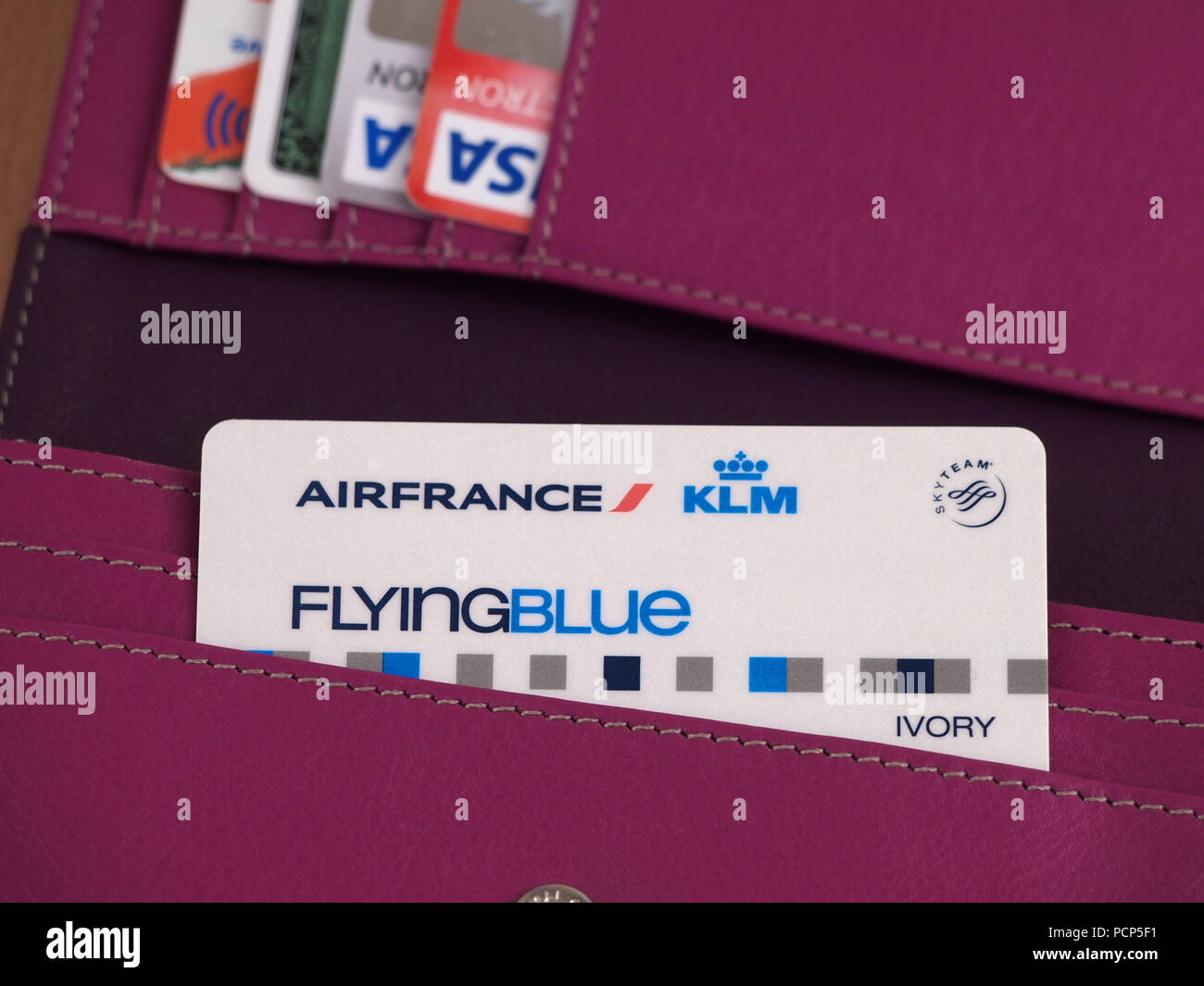 Air France KLM Flying Blue card and other cards in wallet - Stock Image