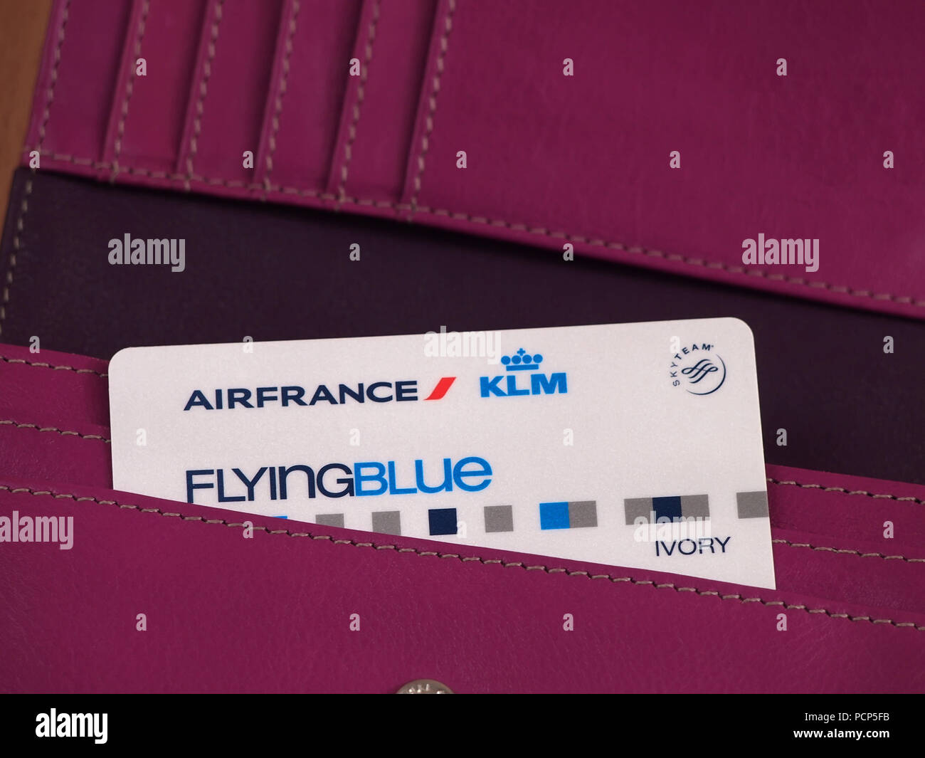 Air France KLM Flying Blue card in wallet - Stock Image
