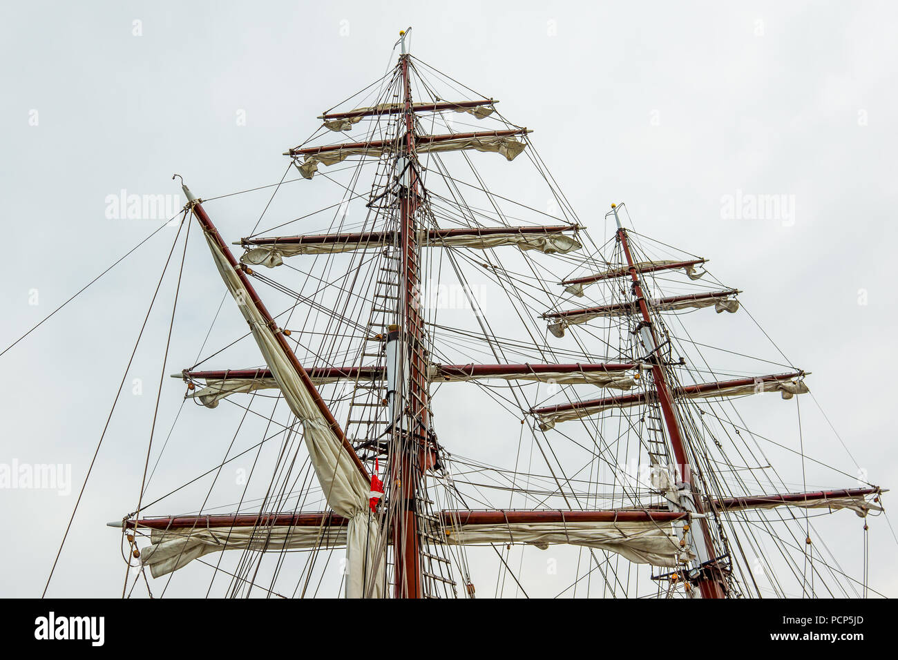 The rigging of the square rigger Aphrodite, foreamast , mainmast and mizzen with sails, Hundested, Denmark, July 31, 2018 - Stock Image