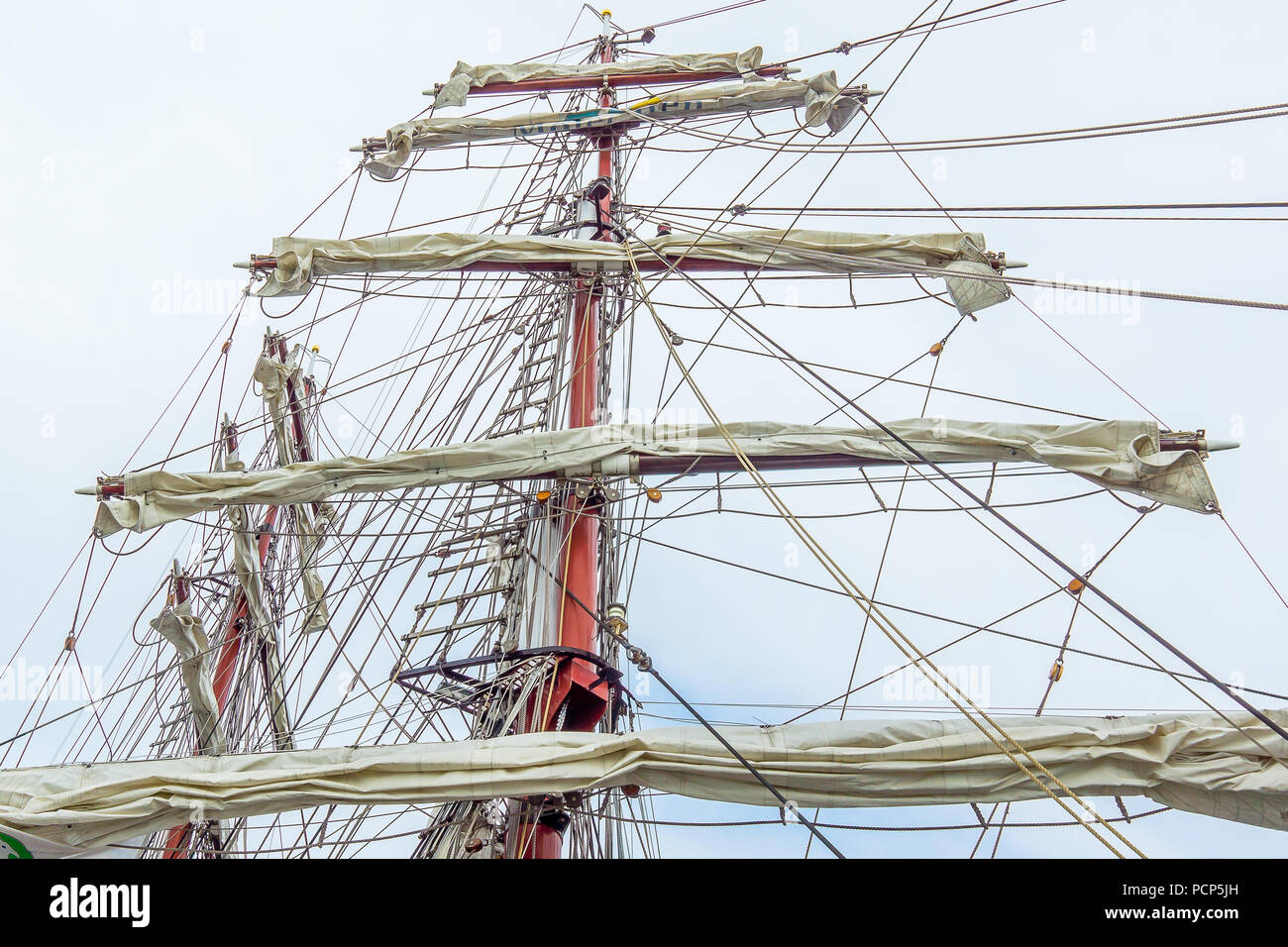 The rigging of the brig Aphrodite, foreamast and mainmast with rotated yards, Hundested, Denmark, July 31, 2018 - Stock Image