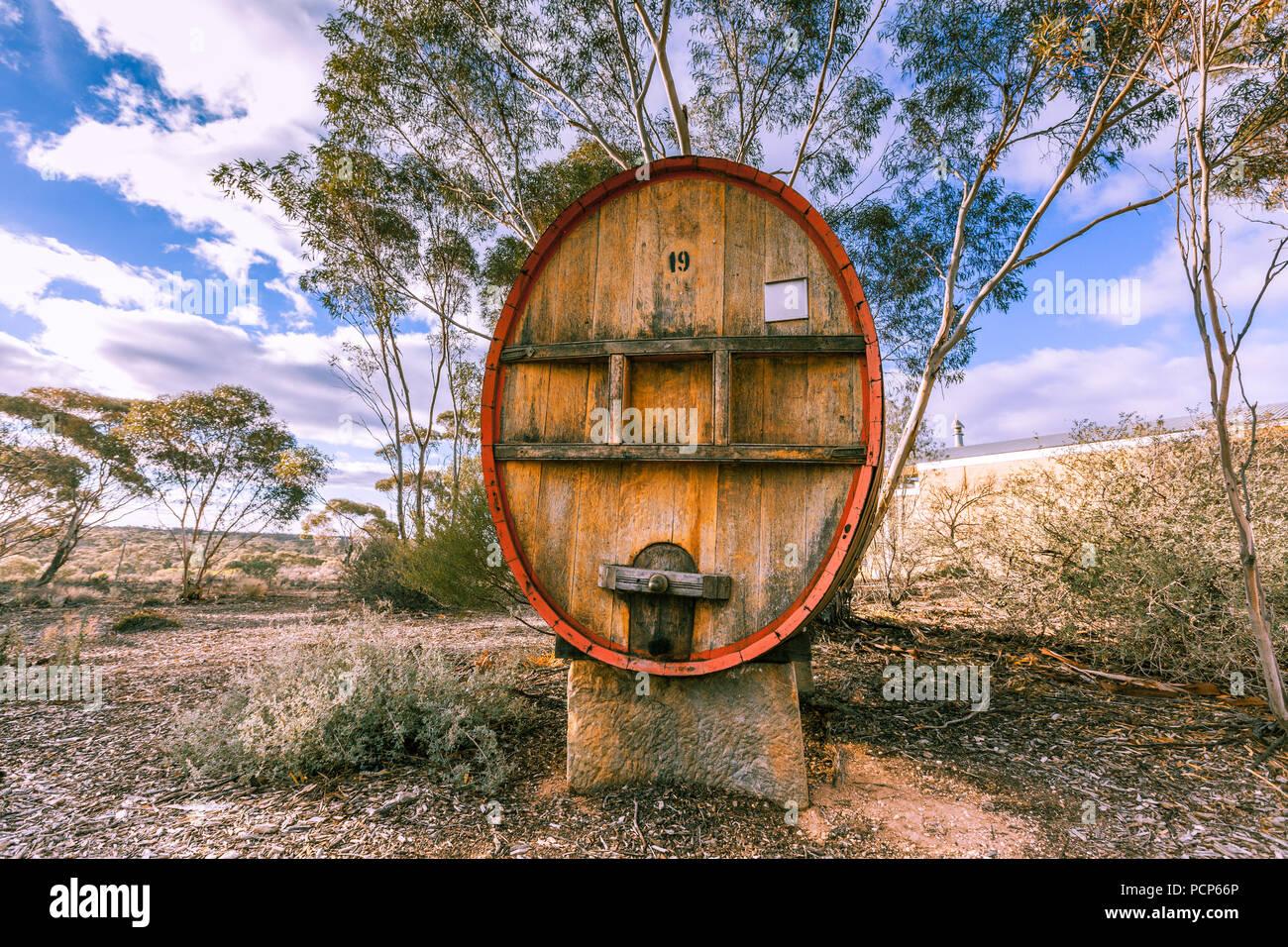 Huge wooden wine barrel in South Australian winery - Stock Image