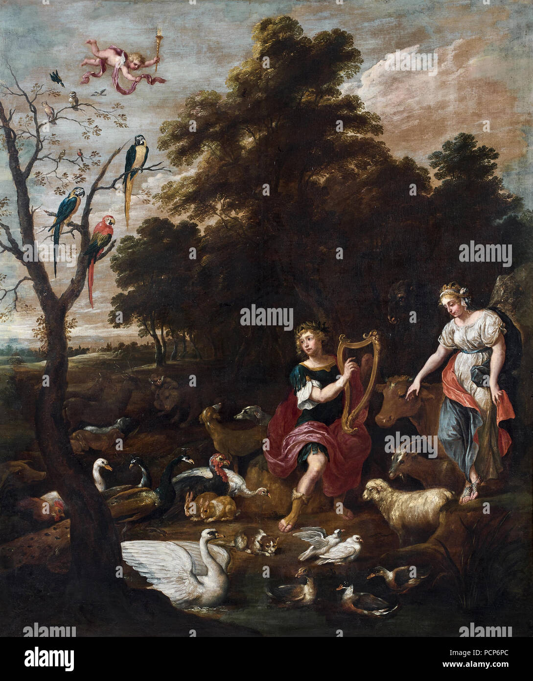 Orpheus among the animals, 1660s. Stock Photo