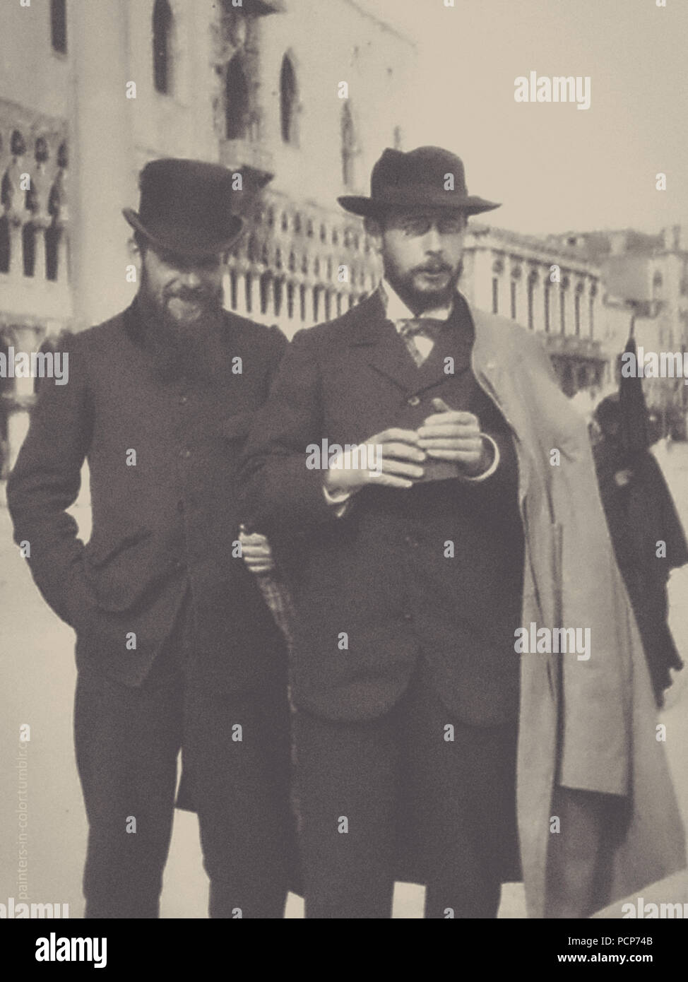Pierre Bonnard (holding his Kodak box camera) with Ker-Xavier Roussel in Venice, 1899. Private Collection. - Stock Image