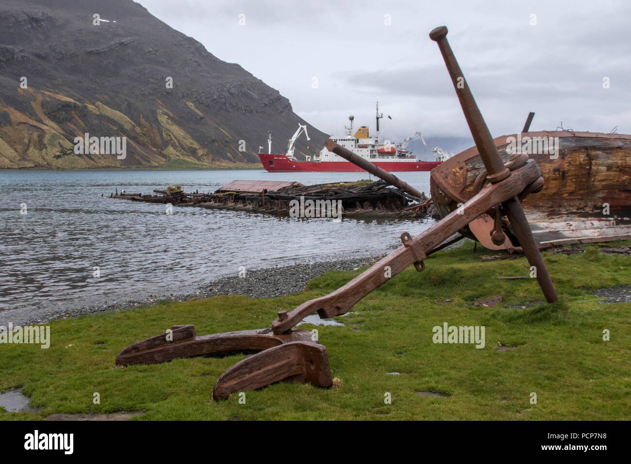 Wreckage at abandoned whaling station in the South Georgia Islands - Stock Image