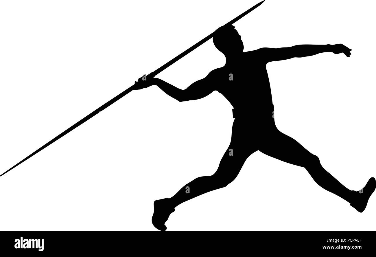 athlete javelin thrower for track and field competition javelin throw Stock Vector
