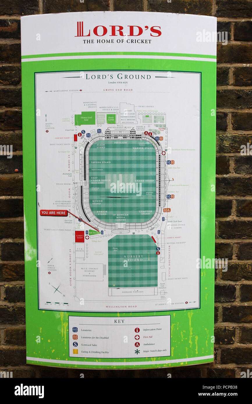 Lords Ground Map A map of the ground ahead of Middlesex CCC vs Lancashire CCC
