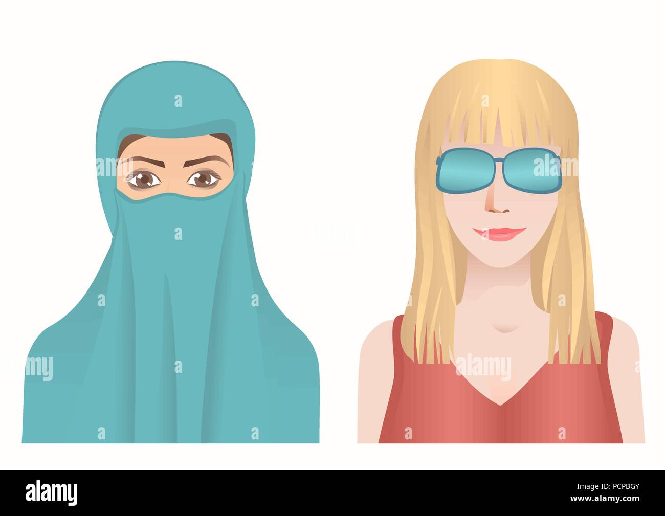 Muslim and European woman avatars set. Hijab or spectacle. - Stock Vector