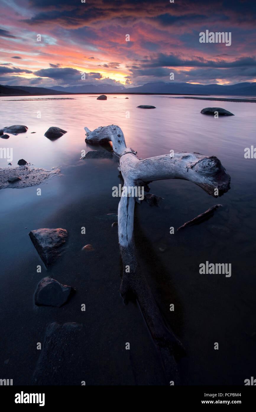 Sunset at Lake Torneträsk in northern Sweden - Stock Image