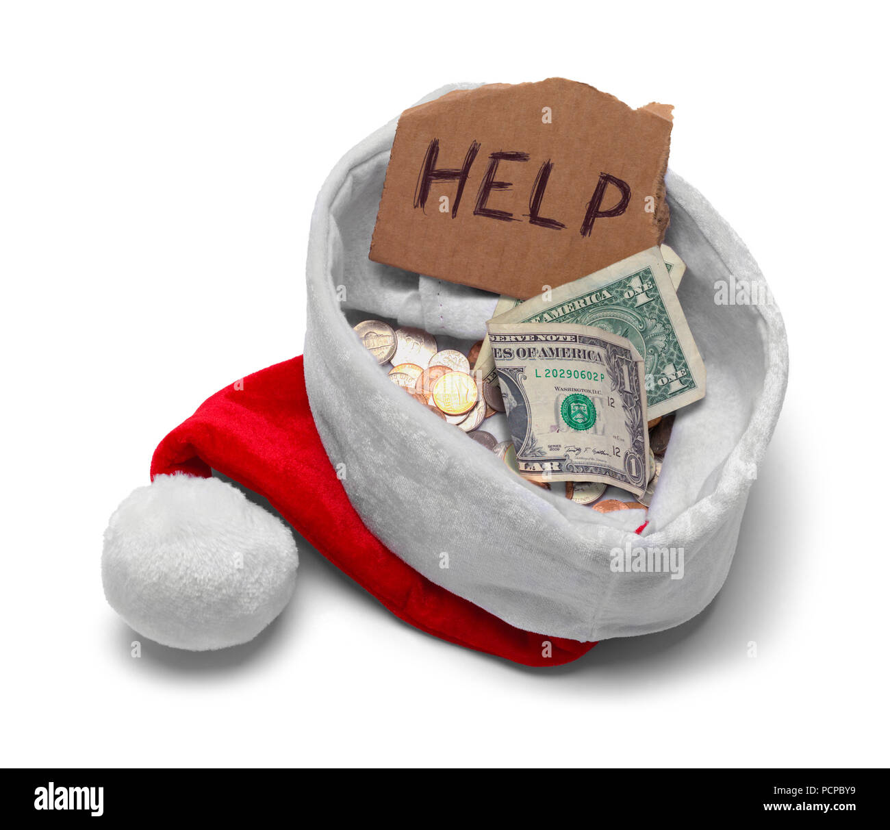 bd3cb0c48d096 Red Santa Hat With Money ahd Help Sign Isolated on White. - Stock Image