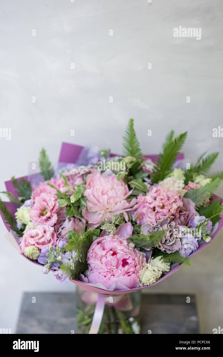 Work florist beautiful spring bouquet arrangement with mix flowers beautiful spring bouquet arrangement with mix flowers the concept of a flower shop a small family business pastel color mightylinksfo
