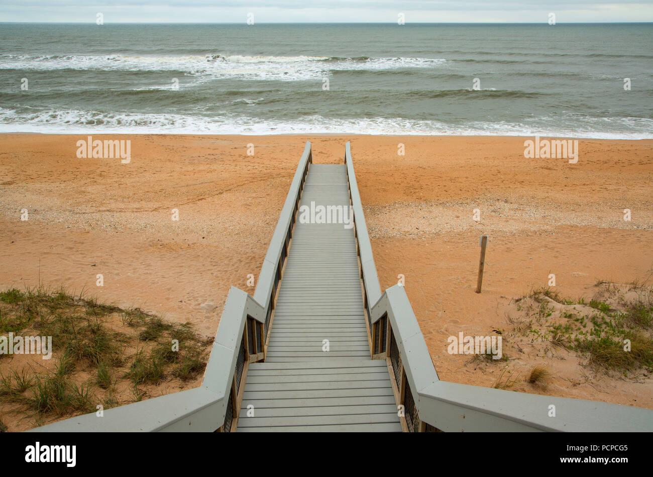 Beach access, Guana Tolomato Matanzas National Estuarine Research Reserve,  Florida - Stock Image
