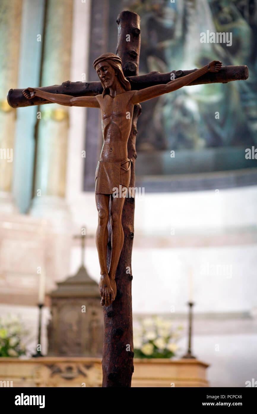 Christ statue in the old church of our lady of Fatima in his natural light; shallow DOF Stock Photo