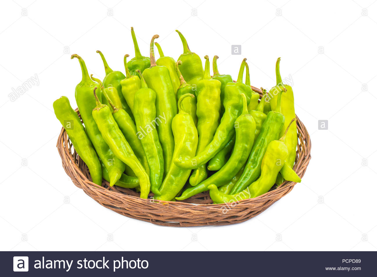 group of Green hot chili peppers - Stock Image